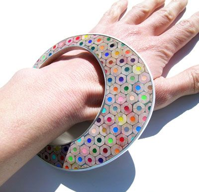 Maria Cristina Bellucci, Bracelet, 2010 Love the idea of using everyday items to make such a colourful bracelet
