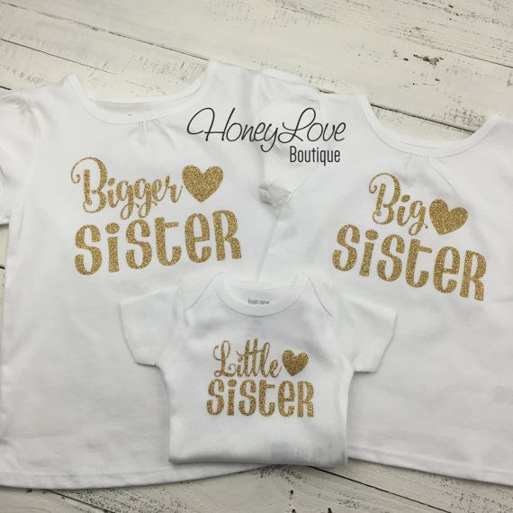SISTER Sibling shirts Matching Sis Little Middle Twin Big Sister glitter bodysuits gold glitter shirt newborn infant toddler little baby girl by HoneyLoveBoutique