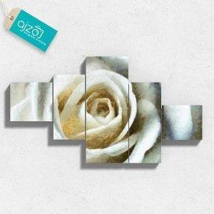Obraz na płótnie spokojne spojrzenie róży kaskada. #obraz #róża #białaróża #sztuka