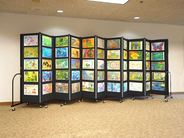 Simple, easy and effective portable art display panels   Screenflex Room Dividers