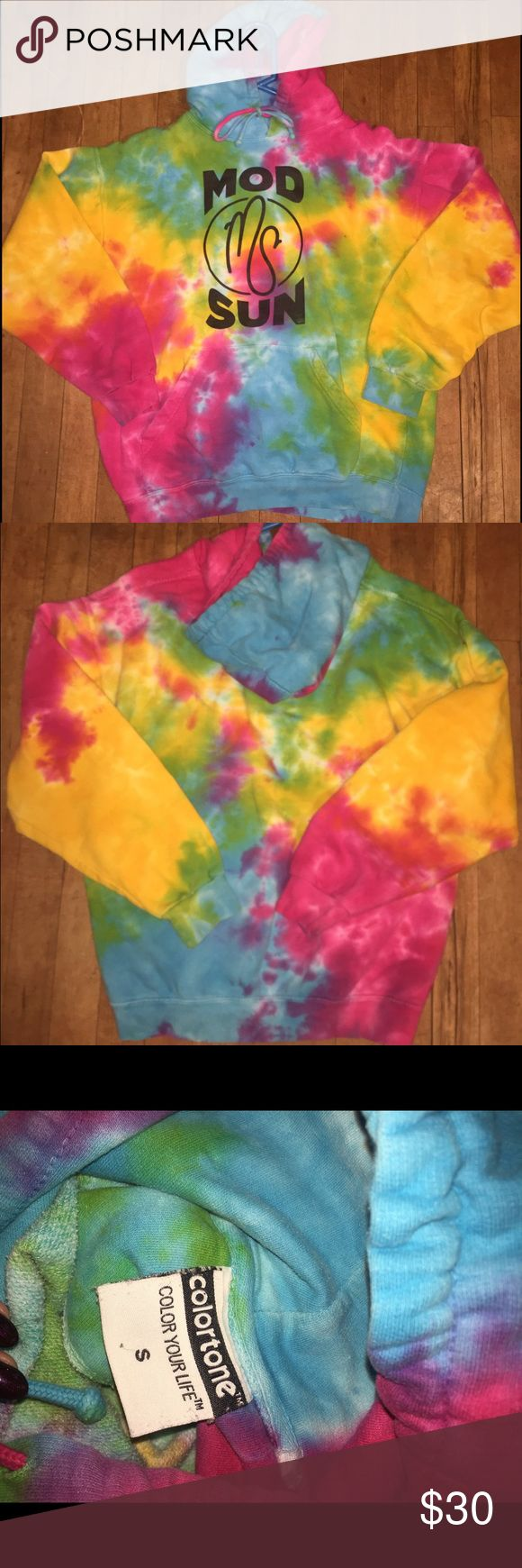 Modsun Tie Dye Hoodie Super awesome! Loved it just getting a bit snug. Bought from modsun's merch website. seen worn by many celebrities (Kendrick Lamar, Mac Miller , ect) still bright as new. Fits true to size Urban Outfitters Sweaters