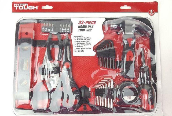 Hyper Tough Tool Set 33 Piece Pliers Level Hammer 16 Hex Keys Tool Bag Home Use #HyperTough
