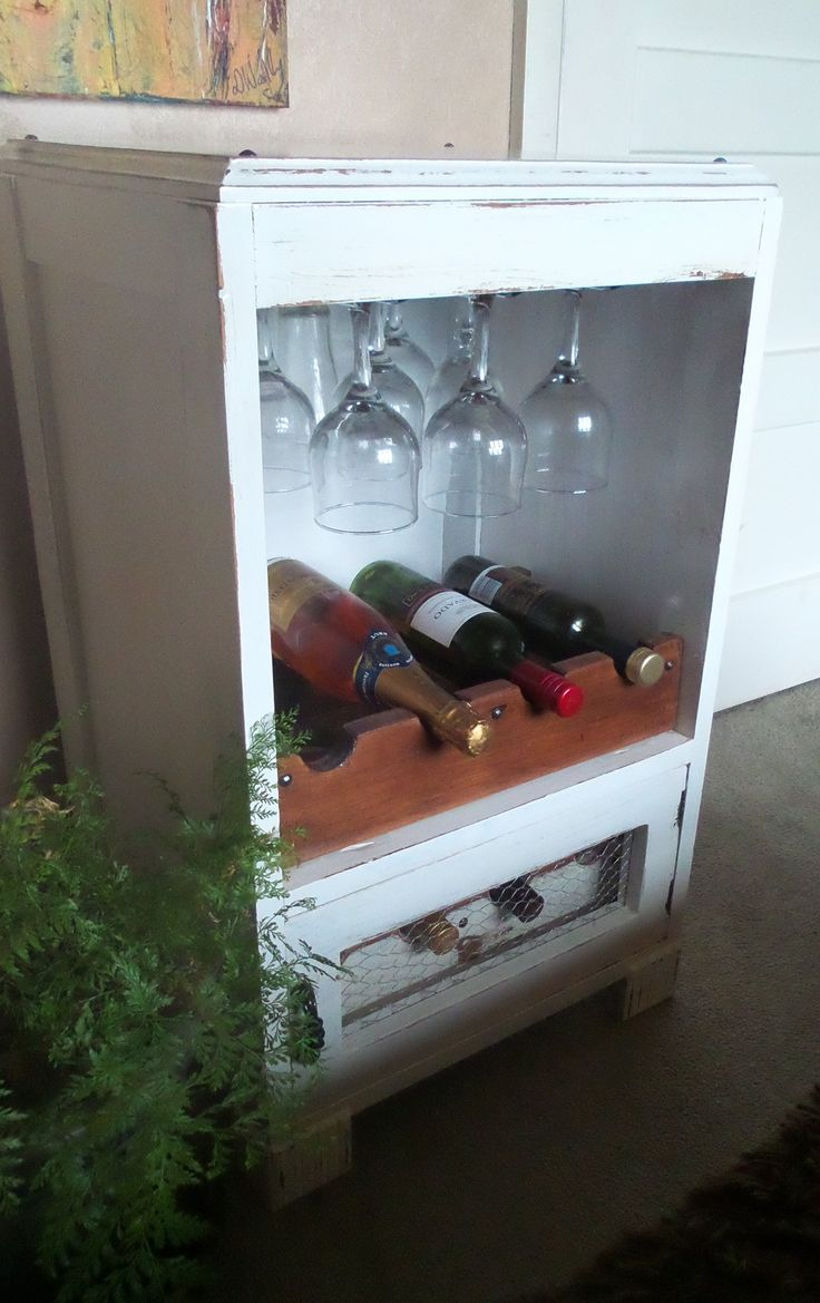 old drawers converted into wine rack (After)