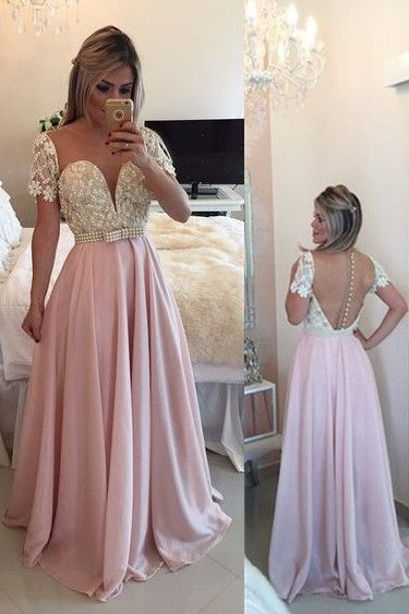 2017 Champagne Long prom Dress Chiffon Maternity Evening Dresses A-line Sweetheart Floor-Length Chiffon Beading Belt Prom Dress/Evening Dress/Party Dress