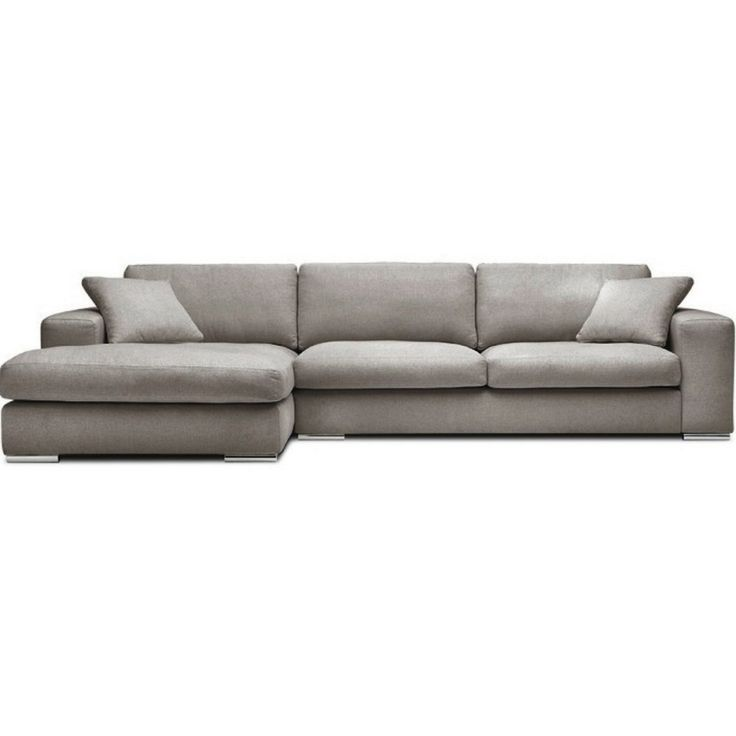 Canapé d'angle gauche gris clair en tissu Bianca ATYLIA