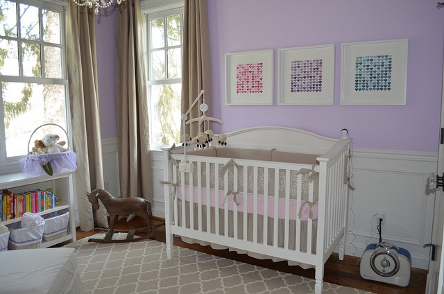 Cutest Lavender Nursery Complete With Rocking Horse, White