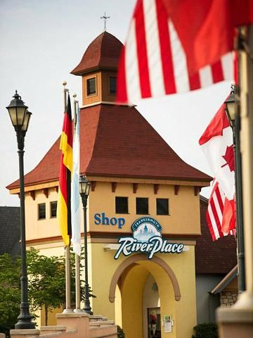 """River Place Shops, Frankenmuth, Michigan, with link to """"12 Reasons to Visit Frankenmuth, Michigan"""" by Midwest Living Magazine"""
