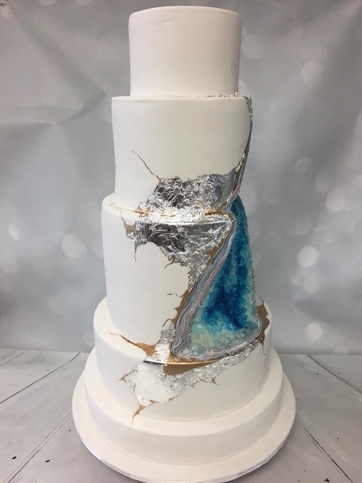 Whisk Cake Company's own Blue Geode Wedding Cake!
