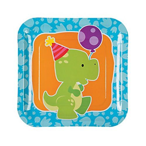 DINOSAUR-PARTY-Little-Dino-23-cm-Square-Lunch-Dinner-Plates-pack-of-8