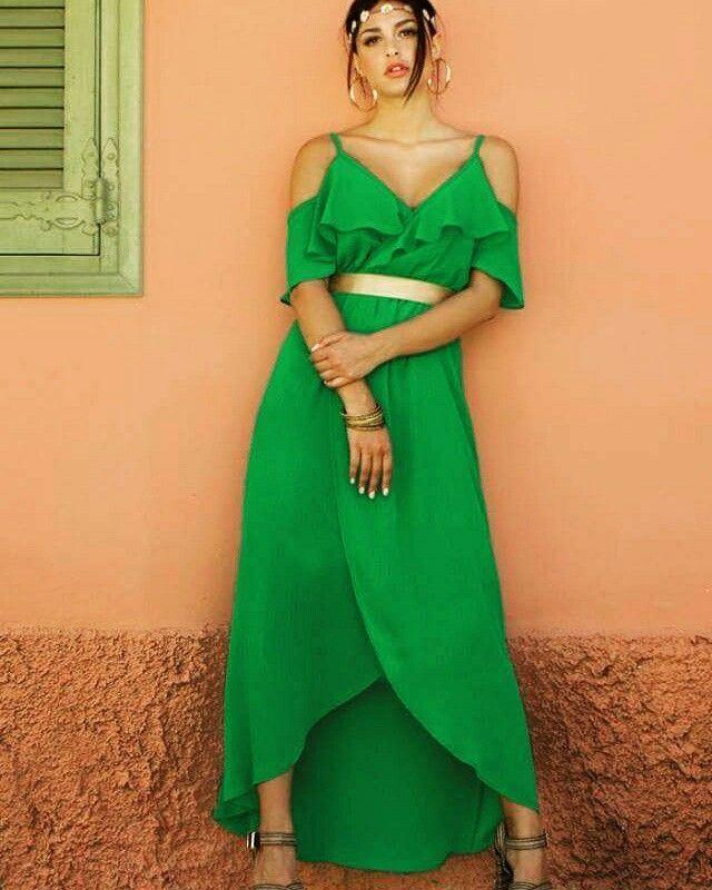 Be the Queen... Εντυπωσιακό φόρεμα με ανοιχτούς ώμους και βολάν στο μπούστο ~ Επιλογή που θα τραβήξει τα βλέμματα! #queenfashion #summer #fashion #collection #outfit #dress #collors #bethequeen