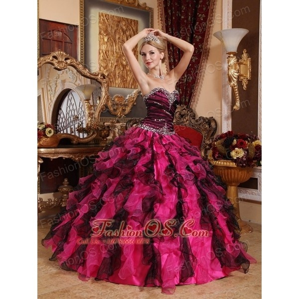 Popular Black and Hot Pink Quinceanera Dress Sweetheart Organza... via Polyvore