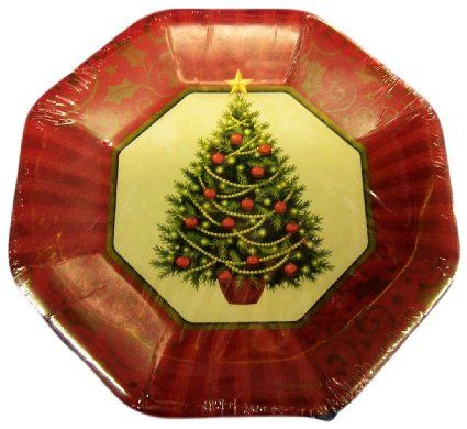 Custom u0026 Unique Inch 8 Count Bulk Multi-Pack Set of Large Size Octagon Disposable Paper Plates w/ Decorated Christmas X-mas Tree Festive Celebration  Gold ...  sc 1 st  Pinterest & 40 best Christmas Dinnerware images on Pinterest | Christmas ...