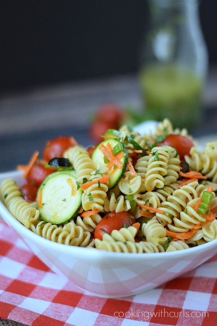 Healthy Italian Pasta Salad | cookingwithcurls.com: