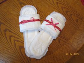 Hysterectomy Party - slippers made from pads! LOL Doing this!!                                                                                                                                                                                 More