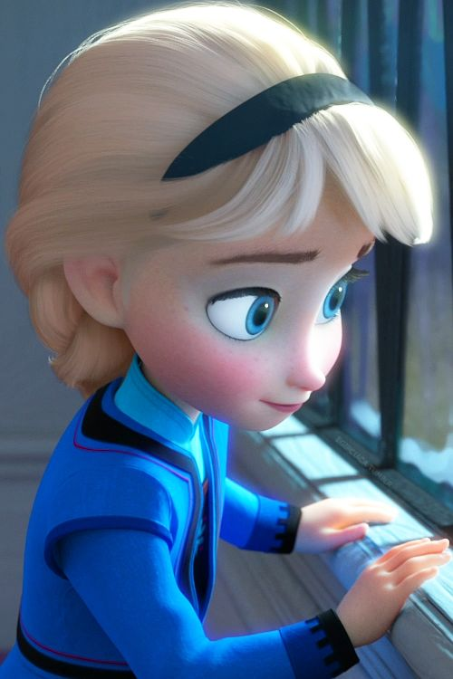 Elsa looking out the window after the accident with her and Anna.