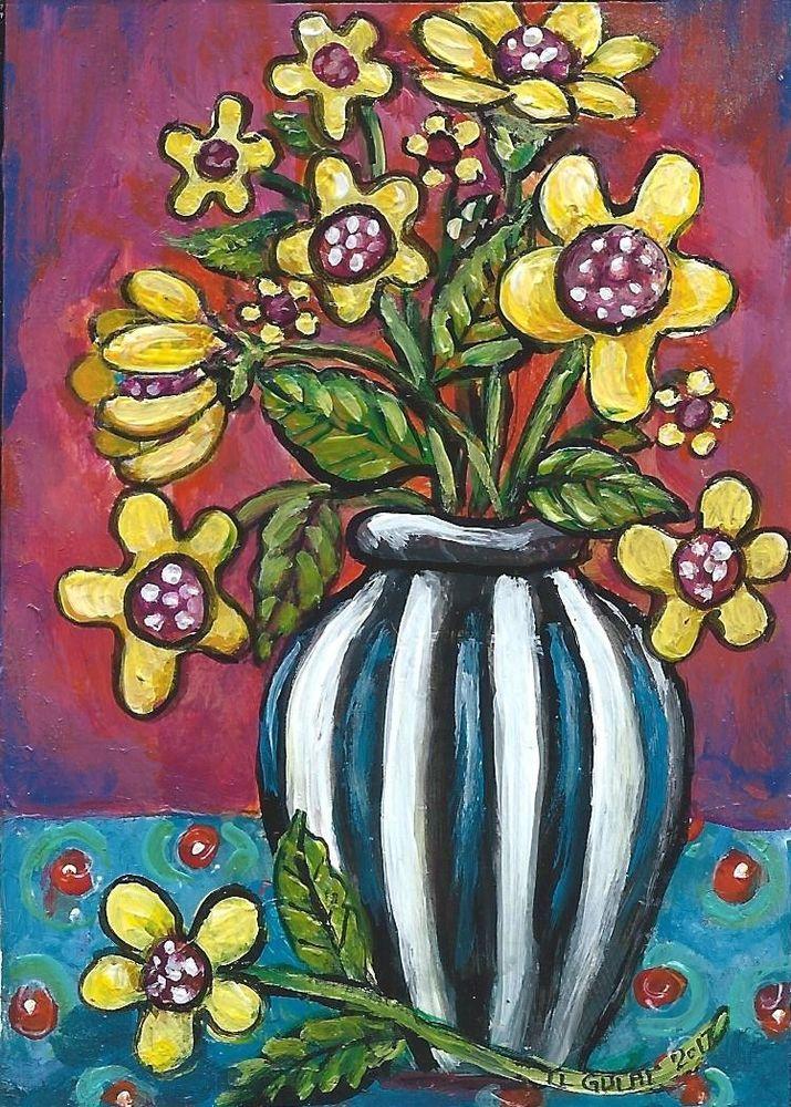 NFAC ACEO Original Miniature Acrylic Painting Whimsical Yellow Flowers Gulat  #ModernFolkArtOutsiderArt