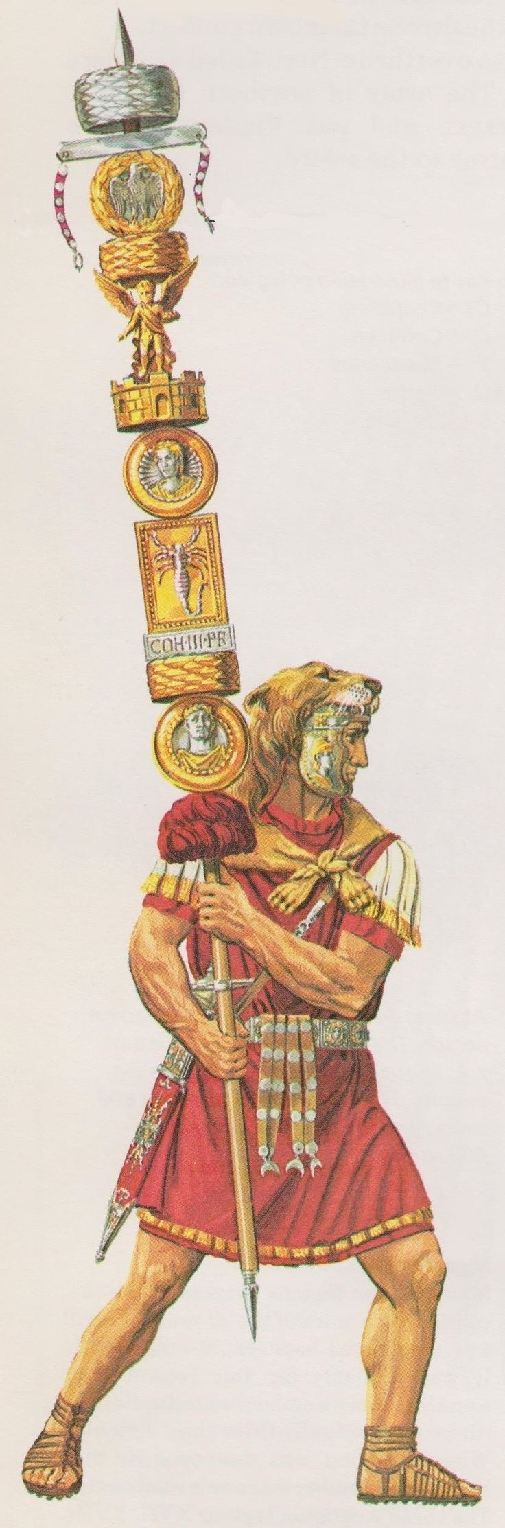 Roman Standard of the 3rd Praetorian Cohort with images of Nero and his wife by Peter Connolly (The Roman Army/Praetorian Guard/user: Aethon)