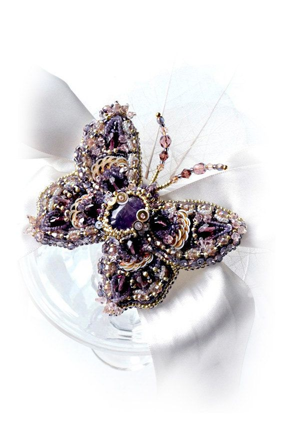 Lilac Butterfly brooch, Amethyst, violet purple gold, nature jewelry, butterfly jewelry, decorative insect, insect jewellry, hand embroidery