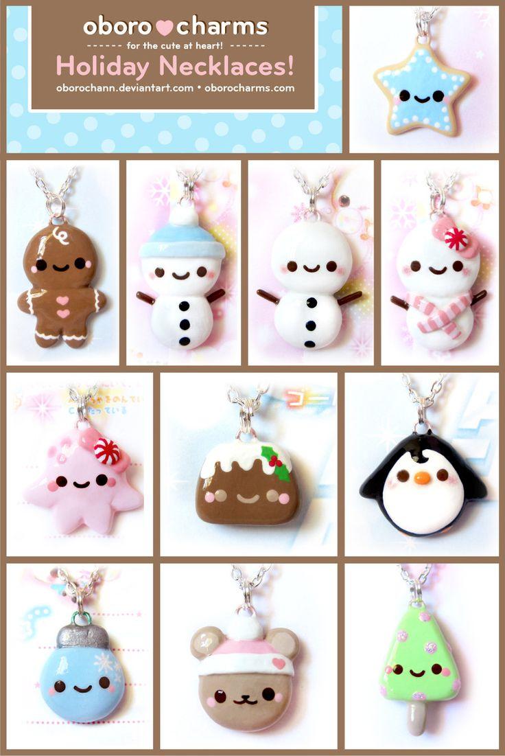 Holiday Necklaces by Oborochann.deviantart.com on @deviantART