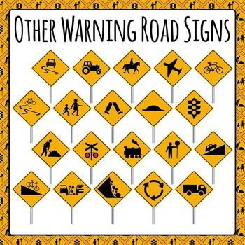 Variety of Warning Street Signs Clipart pack - 21 pieces of color/colour clip art in a pack or bundle for your worksheets or educational resources. All images or pictures are high resolution so you can have large illustrations of them and they'll still be clean and beautiful.Images are in PNG format with a transparent background (there aren't white areas around the outside edge) so they can be dropped into your documents easily, and layered with text or other images. $1.00