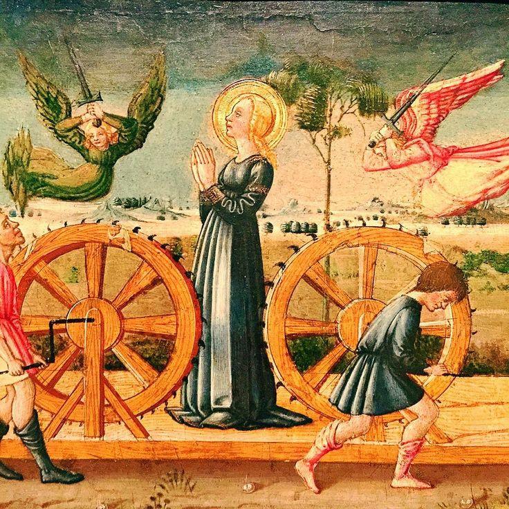 """Neri di Bicci - Martirio di Santa Caterina (dettaglio del pannello """"San Lorenzo, San Michele e il Drago, la Dormitio Virginis e il Martirio di Santa Caterina"""" - 1475-1480 - Museu Nacional d'Art de Catalunya, Barcelona, (Catalonia, Spain)"""