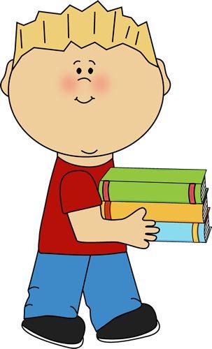 Little Boy Carrying A Stack Of Books Clip Art Little Boy