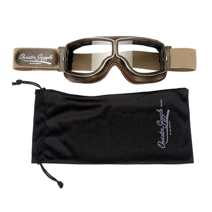 Aviator Pilot Goggles By Leon Jeantet T2 - Brown / Gold | Motorcycle Goggles | FREE UK delivery - The Cafe Racer