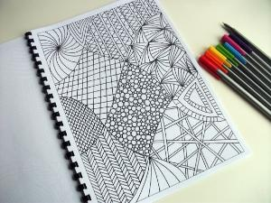 Zentangle-type concept of drawing boundary lines first, then filling in each cell with different pattern ...can later be colored in (water-colors, markers, etc) partly or wholly, or lines can be drawn with different-colored pens