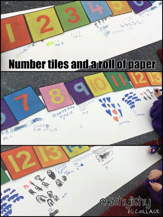 Number tiles and a roll of paper.