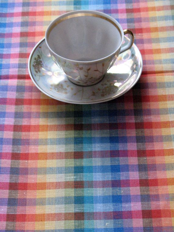 Linen Tablecloth Rainbow Blue Red Green Yellow 122  by Initasworks, $105.00