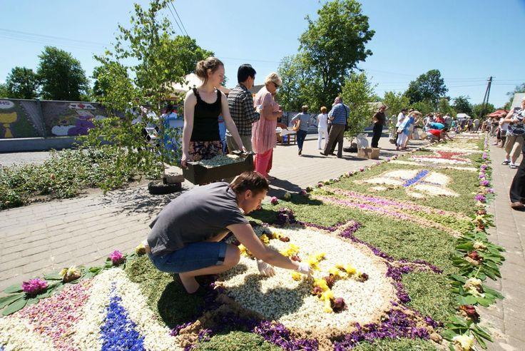 Famous flower carpets during Corpus Christi in Spycimierz, Uniejów commune…