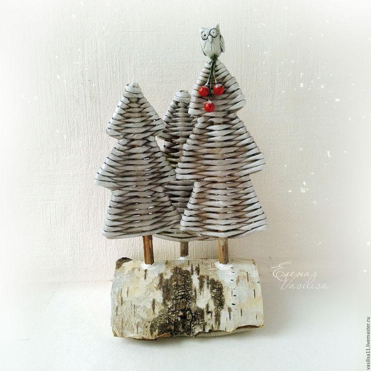 """Купить """"Лесок"""" Композиция новогодняя - новогодние елочки, лес, природный декор, уютный подарок"""