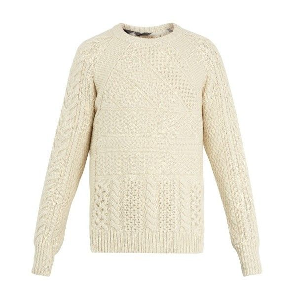 Burberry Linley cable-knit wool and cashmere-blend sweater (€455) ❤ liked on Polyvore featuring men's fashion, men's clothing, men's sweaters, cream, mens wool cable knit sweater, mens cable knit sweater, mens cream sweater, mens chunky cable knit sweater and mens cream cable knit sweater