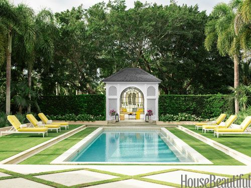 Buttercup-yellow Sunbrella cushions on the pool chaises.: Dreams Houses, Houses Beautiful, Design Ideas, Palms Beaches, Pools Houses, Interiors Design, Slim Aaron, Pools Design, Beaches Houses Design