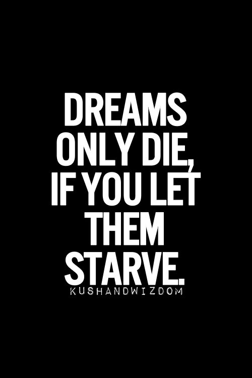 »Dreams only die, if you let them starve« #quotes