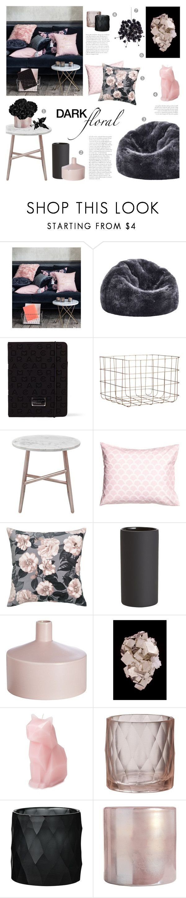 """Dark Floral"" by c-silla on Polyvore featuring interior, interiors, interior design, home, home decor, interior decorating, H&M, Dot & Bo, Marc by Marc Jacobs and CB2"