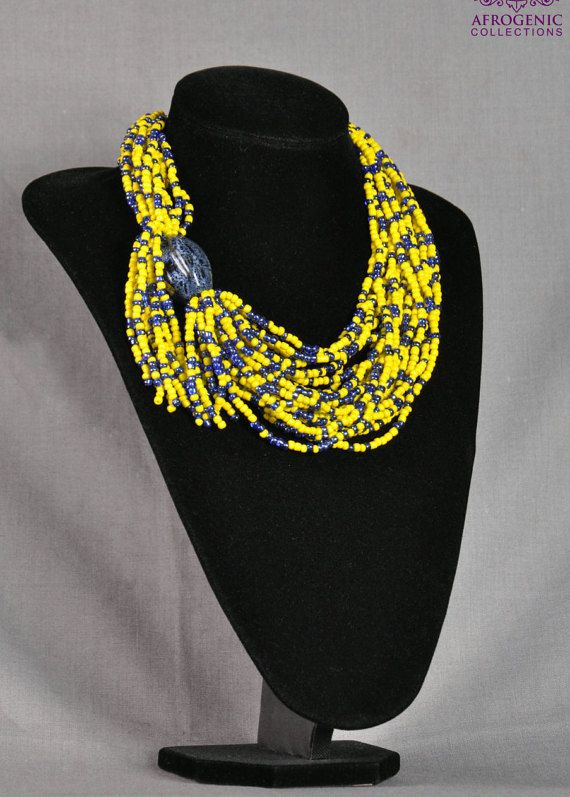 Yellow and Blue Seed Beads Statement Necklace, Seed Beads Statement Jewellery, Beaded Statement piece,  Boho Jewellery, Valentine Gift