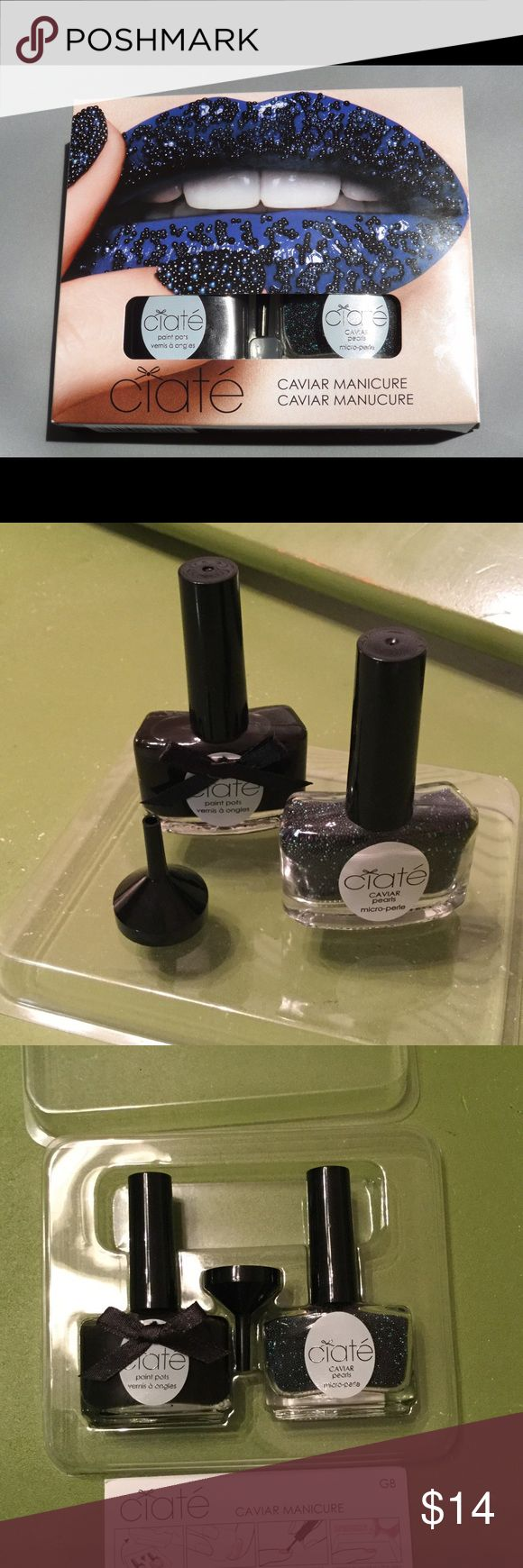 Ciate Black Pearls & Opaque Black Caviar Manicure Ciate Black Pearls & Opaque Black Caviar Manicure. Used ONE time! Comes with all packaging and instructions minus the outside cardboard box. Wore it to a formal and loved it! Ciate Other
