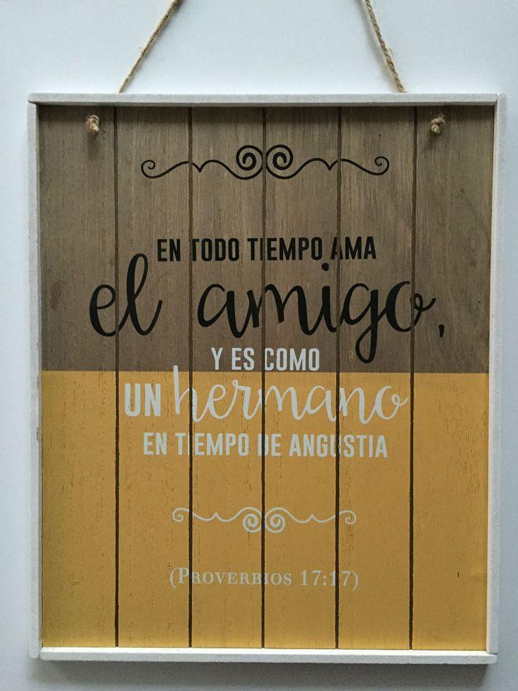 #Cuadro En todo tiempo ama el amigo: cuadro madera #vintage bicolor. Proverbios 17:17 #Biblia  Consíguelo aquí: http://www.mitiendaevangelica.com/en-todo-tiempo-ama-el-amigo-cuadro-madera-vintage-bicolor-9780615920160-061592016