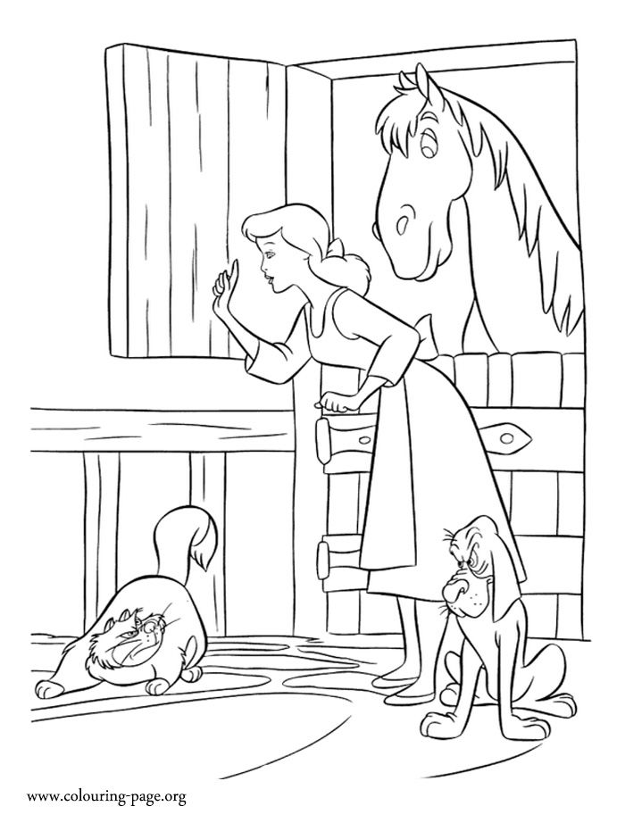 in this beautiful picture cinderella protects her friends from lucifer enjoy with this free cinderella coloring sheet