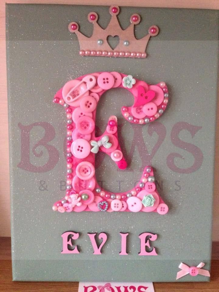 Personalised Button Art Canvas - Baby Shower, Christening, Birthday, Wedding
