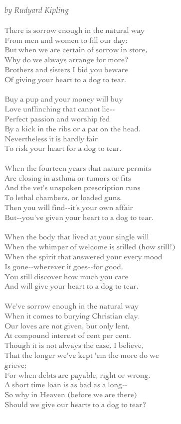 the power of the dog by rudyard kipling | by Rudyard Kipling There is sorrow enough in the natural way From men ...