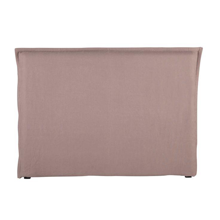 Roze gewassen linnen hoofdeinde-hoes voor 160 bed - Morphée Morphée   Maisons du Monde