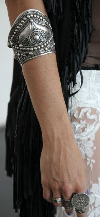 ☮ American Hippie Bohemian Style ~ Boho Jewelry . . . Silver Gypsy Arm Cuff! by kayla