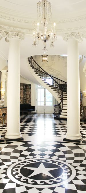 Entry hall and staircase inside Atlanta's historic Swan House.