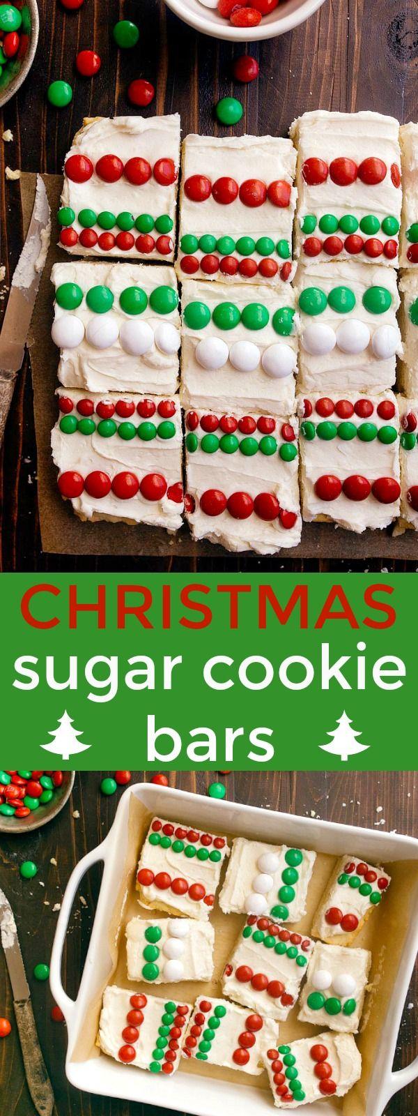 Christmas sugar cookie bars: easy cookies for Santa! M&Ms sugar cookie bars for Santa. via @dessertfortwo