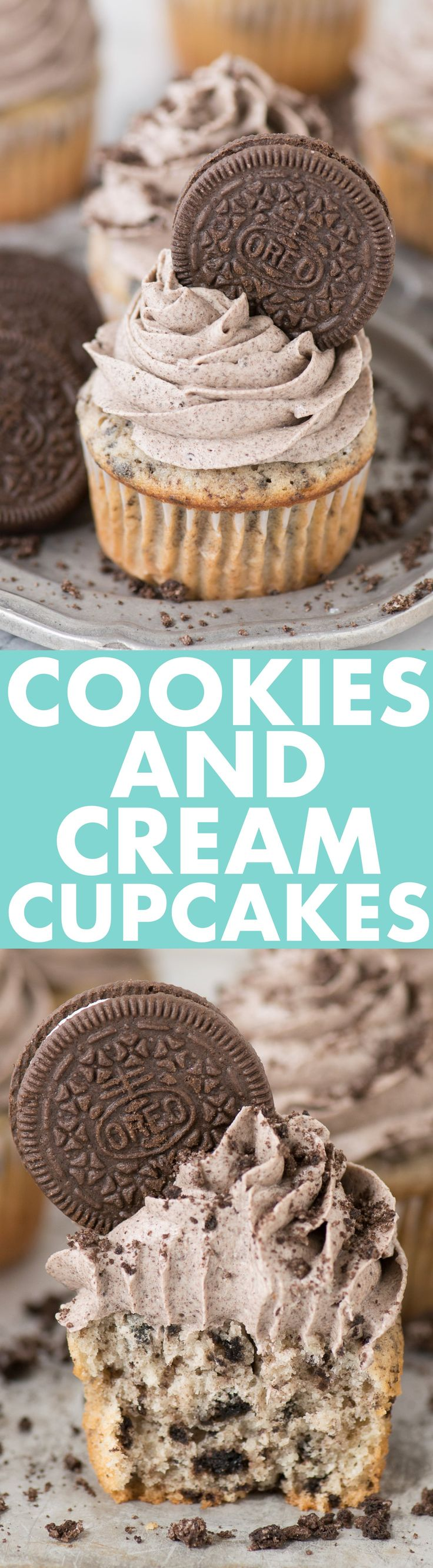 The best COOKIES AND CREAM CUPCAKES! With a cookies and cream cake base and cookies and cream buttercream. These are incredibly moist, we LOVE them!