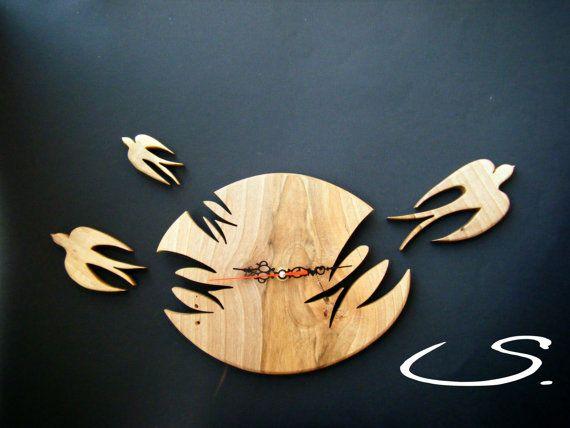 Wooden Walnut Wall Modern Clock with Swallows by svetli79 on Etsy