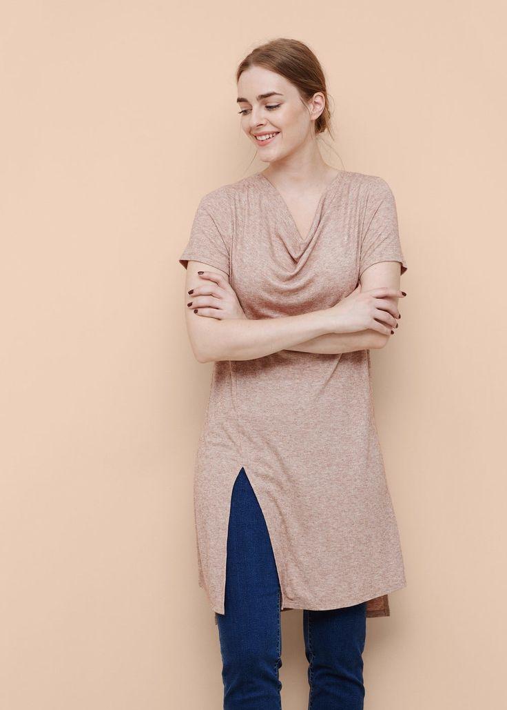 Vlněné tričko žebrový vzor - Trička Velké velikosti | OUTLET Česká republika