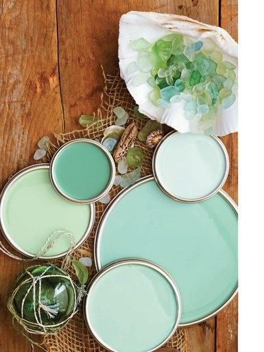 turquoise & sea glass paints - clockwise L-R celadon (dutch boy), eucalyptus (behr), carribean (oittsburgh paints), mermaid (benjamin moore), lambs ear (valspar) --- Love seaglass!